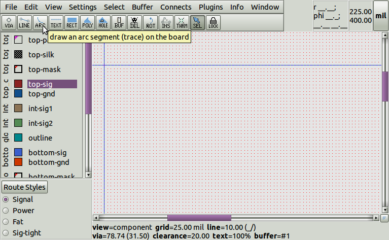 pcb-rnd pool - Using and editing arcs on layouts in pcb-rnd
